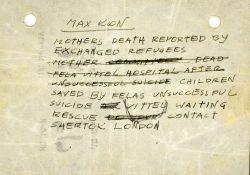 Treść Telegramu od Maxa Kona, męża Soni, do Jehoszuy: O śmierci matki opowiedzili uchodźcy uwolnieni w ramach wymiany. Matka (tekst nieczytelny) nie żyje, Fela w szpitalu w Vittel, po nieudanej próbie samobójstwa. Dzieci uratowane dzięki nieudanemu samobójstwu Feli czekają na ratunek w Vittel. Kontakt - Shertok, Londyn.