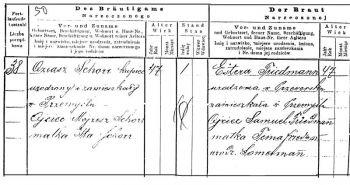 Kontrakt ślubny rodziców Mojżesza Schorra. Tak jak większość galicyjskich Żydów, rodzice zawarli ślub religijny. Jednak dopiero w roku 1887, kiedy mieli po 47 lat, zdecydowali się na jego prawną rejestrację.