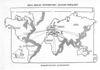 """Mapa obsługi informacyjnej """"Naszego Przeglądu"""" - 1938."""
